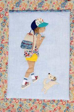 女の子と子犬<ブルー> - パッチワークキルト・手芸キットのゆう風舎 Net Shop