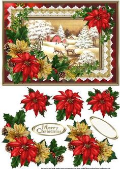 Winter scene with holly and ivy on Craftsuprint designed by Carol Smith - a decoupage sheet for Christmas which has a snowy winter scene with reindeer on the farm framed in a ruffle and lace frame and decorated with beautiful red and gold poinsettia with holly and ivy, co-ordinating tag says merry Christmas also a blank tag for the greeting of your choice. A lovely traditional Christmas topper.thank you for looking please take a peek at my other items - Now available for download!