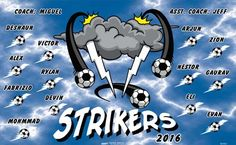 Strikers B51931  digitally printed vinyl soccer sports team banner. Made in the USA and shipped fast by BannersUSA.  You can easily create a similar banner using our Live Designer where you can manipulate ALL of the elements of ANY template.  You can change colors, add/change/remove text and graphics and resize the elements of your design, making it completely your own creation.