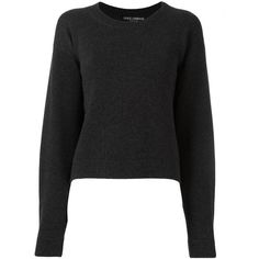 Dolce & Gabbana curved crop hem jumper ($1,065) ❤ liked on Polyvore featuring tops, sweaters, grey, ribbed sweater, ribbed crop top, gray sweater, grey crop top and cashmere jumpers