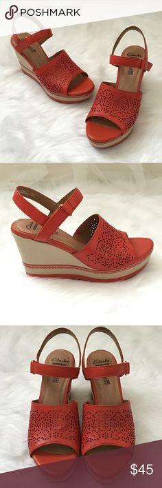 "NWT Clarks Wedge Sandals Deep orange leather upper, beige wedge, ""cushion soft"" comfort, Velcro slingback. Clarks Shoes Wedges"