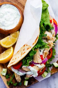 Slow Cooker Greek Chicken Gyros with Tzatziki Sauce (Paleo-ify this!)