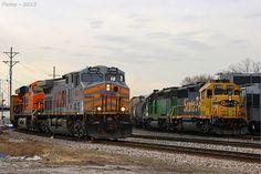 KCS and BNSF Train Pass at Kansas City, MO