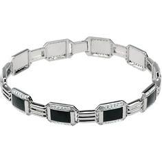 14K White Gold Black Enamel Diamond #Men's Bracelet