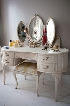 A vanity is a special place for a woman's daily beauty routine. This one is ultra feminine.