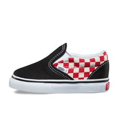 a8394fb017f Vans Classic Slip On Toddler Checkerboard Black Red