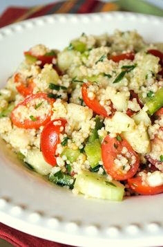 Garden Couscous Salad -- loving this trend of thinking of dishes as salads (full of veggies with some grains mixed in, instead of tons of grains with a few veggies)!