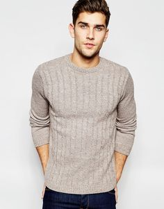 Image 1 ofASOS Cable Knit Jumper in Brown