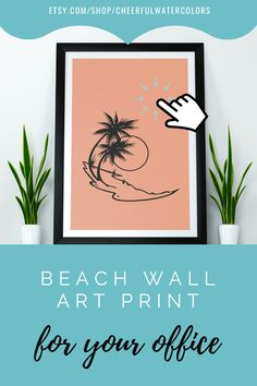 Coastal art prints featuring beach landscape is a perfect wall decor choice for your office walls. Just download, print and frame! #coastalartprint #beachwalldecor #coastalwallart #printablewallart Coastal Wall Decor, Beach Wall Decor, Coastal Art, Farmhouse Wall Art, Colorful Wall Art, Beach Landscape, Office Walls, Dorm Decorations, Watercolor Print