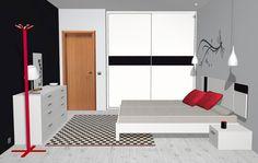 Vista lateral de la habitación de matrimonio con los muebles en color Blanco y Negro fabricados en España