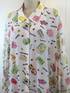 Nicole Taylor Plus 3X Silk Top Beaded Travel Suitcases Countries Cities Blouse #NicoleTaylor #Blouse #Casual