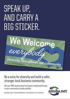 """Be a voice for diversity! Posters and """"big stickers"""" available through amiba.net Independent Business, Lead The Way, Diversity, The Voice, Posters, Stickers, Marketing, Big, Wedding Ring"""