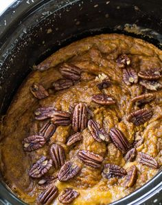 This Slow Cooker Pumpkin Cake is super easy- only 3 or 4 ingredients needed. Depending on whether you want nuts or no nuts. I like nuts. Specifically pecans. I add them to just Best Slow Cooker, Crock Pot Slow Cooker, Slow Cooker Recipes, Crockpot Recipes, Slower Cooker, Pumpkin Recipes, Fall Recipes, Holiday Recipes, Slow Cooking