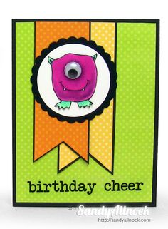 Googly Monster card by Sandy Allnock Birthday Cheers, Birthday Kids, Monster Pictures, Sandy Allnock, Mini Monster, Monster Cards, Gifts For An Artist, Hero Arts, Halloween Cards