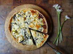 blue cheese & wild garlic quiche