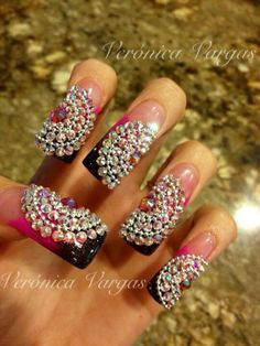 Bling out nails. A little to long for me but the design is amazing.