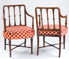 Pair of Irish mahogany chairs upholstered with Nina Campbell fabric from loverslaneantiques.com