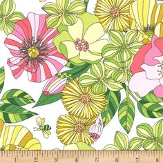 Michael Miller Tamara Kate Joy Grandiflora Bloom from @fabricdotcom  From Michael Miller, this cotton print fabric is perfect for apparel, quilting, and home decor accents. Colors include shades of green, shades of yellow, shades of pink, brown, black, and white.