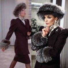 Jackie Collins, Joan Collins, Alexis Carrington, My Collection, Fox Fur, Cuffs, Fur Coat, Winter Hats, Suit