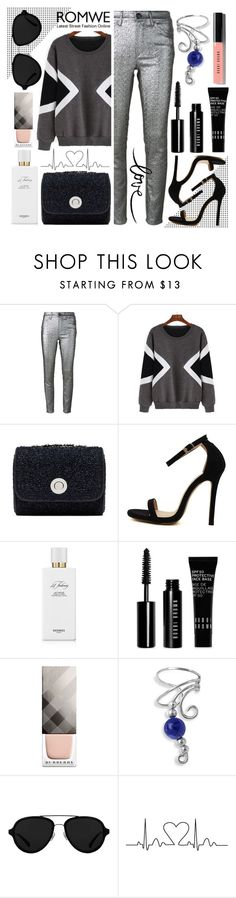 """Geometric Sweatshirt Silvery Look"" by gorgeautiful ❤ liked on Polyvore featuring Isabel Marant, Hermès, Bobbi Brown Cosmetics, Burberry, Bling Jewelry, 3.1 Phillip Lim, women's clothing, women, female and woman"