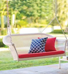 All-Weather Resin Outdoor Everyday Wicker Swing | Outdoor Seating