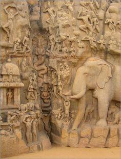 Rock relief descent of the Ganga in Mahabalipuram Human Sculpture, Lion Sculpture, Sculptures, Hampi, Indian Architecture, Canvas Prints, Art Prints, Religious Art, Art Reference