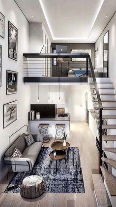 Loft House Design, Tiny House Loft, Loft Interior Design, Small House Design, Modern House Design, Room Design Bedroom, Home Room Design, Dream Home Design, Small Loft Apartments