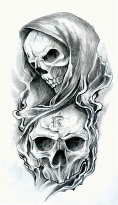 Two skulls one with a hiid the other with out so cool