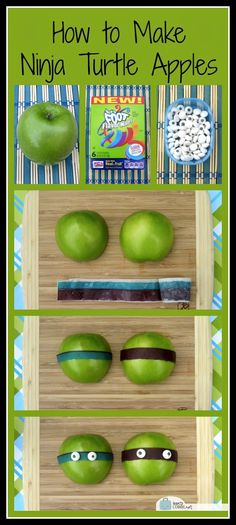 How to Make Teenage Mutant Ninja Turtle Apples (And a Bento! Turtle Birthday Parties, Ninja Turtle Birthday, Ninja Turtle Party, Boy Birthday, Carnival Birthday, Ninja Turtle Snacks, Birthday Ideas, Ninja Turtles, Bento