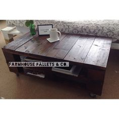Stained Pallet Table LEMMIK made of by FarmhousePalletsCo on Etsy