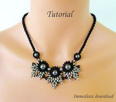 PDF for beadwoven necklace beading turorial - beadweaving beading pattern beaded super duos bead jewelry - ELADVEN