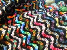 Kimations: Variegated Variegated Crochet Ripple Afghan - includes free pattern with instructions