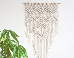 Macrame Wall Hanging CHEVRONS 100% Cotton Cord in by JoJansenCo