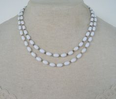 Vintage 60s Traditional Preppy Signed Japan Double Strand White Lucite Beaded Necklace by ThePaisleyUnicorn, $5.00