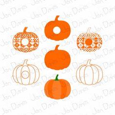Pumpkin Aztec Monogram Frame SVG DXF Monogram Design by JenDzines