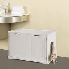 Cat Litter Box Bench –I have two cats so I wish there was a door on each side for two litter boxes inside. This one has one side as a storage area and doors open from front to access. Still, a nice litter box bench nonetheless.