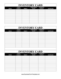 Attractive Sections Are Available In This Free, Printable Inventory Card To Fill In  Item Descriptions, And Inventory Card Template