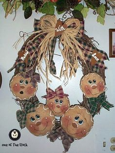 Gingerbread Family Wreath 18 inch Wreath and Larger $4.99