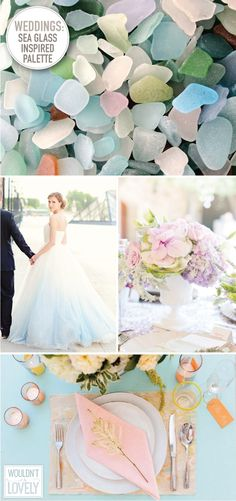 Wedding inspiration: sea glass. The bleached bright colors make an endlessly combinable palette of soft hues.