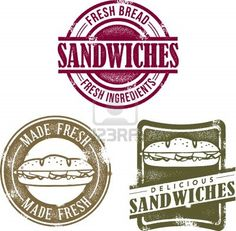 Illustration of Vintage Deli Sandwich Menu Stamps vector art, clipart and stock vectors. Deli Sandwiches, Sandwich Bar, Roast Beef Sandwich, Sandwich Shops, Sandwich Ideas, Restaurant Logo, Bakery Logo, Modern Restaurant, Restaurant Design