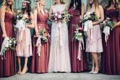 Burgundy bridesmaid dresses - mix-and-match bridesmaid dresses in shades of pink + burgundy {Jennifer DeBarros Photography}