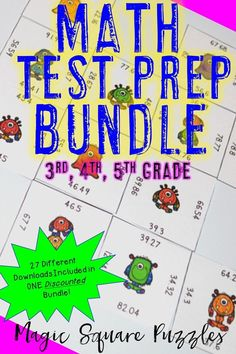 Are you gearing up for test prep? If you're looking for great math games to make it more engaging and fun, then this is it! These Magic Square Puzzles will work ANY time of year, but they're especially great for math test prep! Use them for review, early or fast finishers, enrichment, GATE, math centers, or more! Even homeschool families will love these! Click through to learn how this money saving bundle will make all that review more hands-on! 200+ pages $