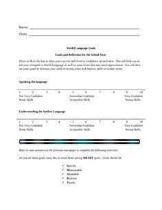 Foreign Language Goal Setting Worksheet