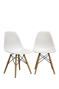 HauteLook   Modern Furniture Basics: Accent Chairs - White - Set of 2