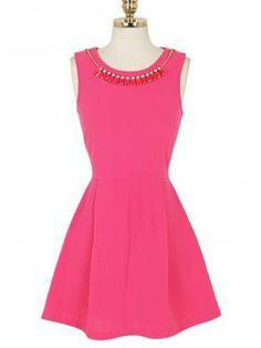 Luxury Bejeweled Pleated High Waist Red Tank Dress