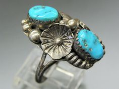 MAX CALABAZA SIGNED STERLING SILVER TURQUOISE FLORAL SOUTHWESTERN DESIGN RING #MAXCALABAZA