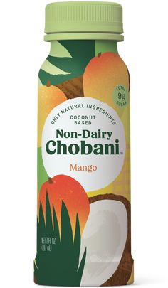Non-Dairy Chobani® Coconut Based Blend Fruit Packaging, Food Packaging Design, Beverage Packaging, Packaging Design Inspiration, Packaging Ideas, Medicine Packaging, Pretty Packaging, Mango Drinks, Fruit Drinks