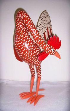 Red Cream Gourd Chicken. MoneysFolkArt.com real talent!