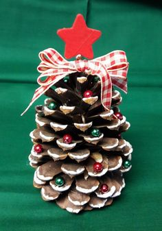 Pine Cone Christmas Tree * Large Pine Cone * Natural Tones with Red and Green Embellishment * One of a Kind!