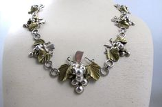 Mexico Sterling Grape Necklace Mixed Metals by TonettesTreasures